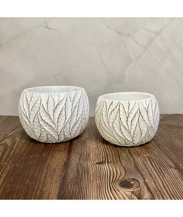 White Patterned Pot (Round)