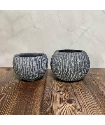 Grey Stone Pot (Round)