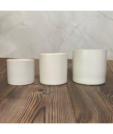 White Textured Round Pot